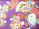 ちりめん 生地 友禅 昭和レトロな大柄な花柄 紫 YS05-02 10cm 【髪飾りやつまみ細工に】 二越 レーヨン 縮緬 和風 はぎれ