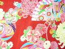 ちりめん 生地 友禅 昭和レトロな大柄な花柄 赤 YS05-01 10cm 【髪飾りやつまみ細工に】 二越 レーヨン 縮緬 和風 はぎれ