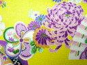 ちりめん生地 和布 古布 はぎれ◆レーヨンちりめん友禅昭和レトロな大柄な花柄 黄 YS05-03(10cm)
