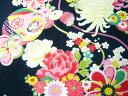 ちりめん 生地 友禅 昭和レトロな大柄な花柄 黒 YS05-04 10cm 【髪飾りやつまみ細工に】 二越 レーヨン 縮緬 和風 はぎれ