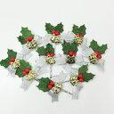 クリスマスケーキ 飾り 【オーナメント】 FX-9 シルバーリボンと赤い木の実の緑のヒイラギ (10本入)