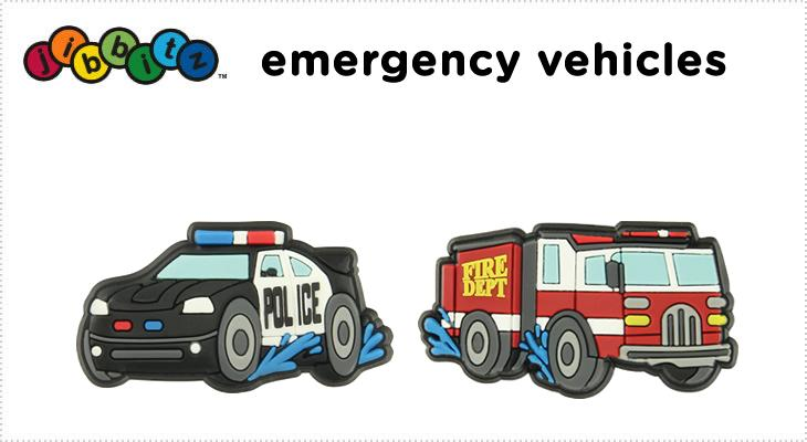 【クロックス jibbitz ジビッツ】emergency vehicles/乗り物 働く車