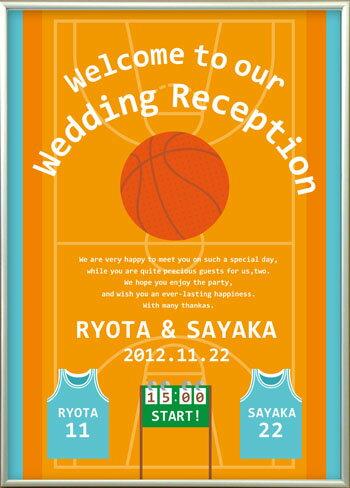 【大きくて軽い!】アルミフレームウェルカムボード バスケットボール/結婚式ウェルカムボード