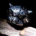 メカニカル・パンサー(レパード/豹)デザイン ヒョウ柄打ち出しブラック燻し風仕上げ ステンレス メンズ リング