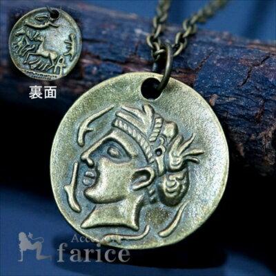 古代 エジプト コイン 天使 エンジェル 馬 ホース 戦車 メンズ ペンダント ネックレス