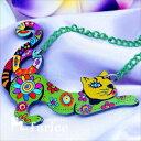 珠寶, 手錶 - ネコ キャット 花 フラワー ペンダント ネックレス チョーカー ジュエリー レディース アート 樹脂 緑 グリーン