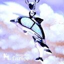 2ドルフィン 親子のイルカデザイン ホワイトオパール&クリアキュービックジルコニア装飾 レディース ハワイアンジュエリー シルバー925 ペンダント ネックレス
