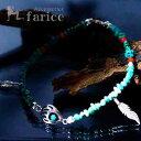 天然石 ターコイズ レッドコーラル(珊瑚)装飾 ベアパウ(熊の手) 2フェザー(羽)チャーム付き インディアンジュエリー シルバー925 メンズ ブレスレット