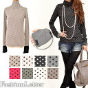 In 2013 two folds of dot print sleeve finger hole turtleneck sleeves ribbon finger hole cut-and-sew waterdrop long T-shirt dot pattern cuffs change Ron T long sleeves mail order Lady's spring clothes %off spring and summer new work half price セールレディスレデイース [RCP] [1st_C]