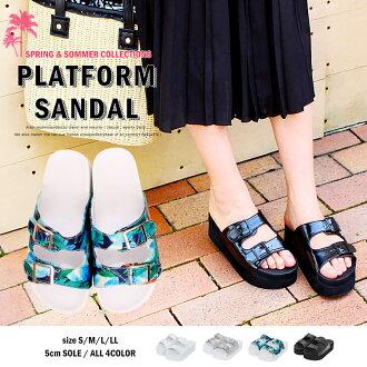 Plataform 沙灘涼鞋累楔植物學婦女底的涼鞋羽量級女裝涼鞋平坦舒適涼鞋運動涼鞋雙涼鞋淋浴涼鞋度假黑色和白色銀 W 皮帶步行
