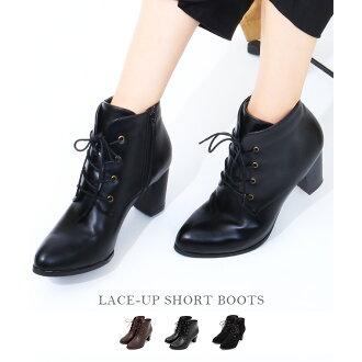 短靴子厚鞋跟花邊短靴子婦女短靴子系帶的靴子尖腳趾袴黑色棕色麂皮絨拉鍊 7 釐米鞋跟秋冬新
