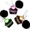 【原宿 kitson studio オープン記念】[Kitson]キットソン ファーぼんぼん付き スパンコールバッグ 携帯ストラップ/キーホルダー