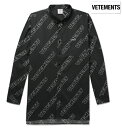 Vetements ヴェトモン 2018年春夏新作 Oversized Button-Down Collar Printed Cotton-Poplin Shirt シャツ ブラック