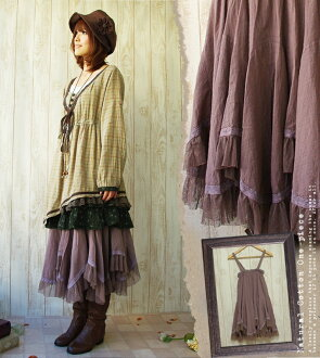 Dress one piece violet ♪ Mocha color Jyr which is forest girl skirt one piece soft and fluffy air Lee in the summer is medium flared skirt ◎ (312)fs3gm of the tightening effect * young girl degree perfect score waist shirring