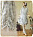 It is two folds of ◎ gauze shirt-dresses to forest girl check shirt-dress 13 *Favorite original * hem くしゅ X ふんわりのゆるかわな girly silhouette ♪ house coat in dress shirt-dress dress 13 spring in fs2gm spring