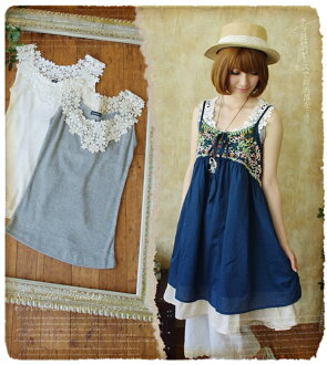 Race one-piece natural one piece shirt tank top and peeping girl's mind to delicate and soft! lots of flower lace × ノースリーブカットソー * fs3gm