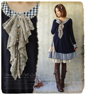 Stylish knit one piece fs3gm where the floral design race such as the scarf which gave a shake at knit dress checked pattern forest girl ゆらりと placed refined * checked pattern in アシメ
