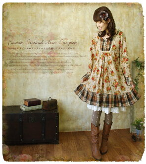 Floral check forest girl ~ feel like Alice while stepping on the 13 fallen * retro floral design and switching check forest girl a ab06221 fs3gm