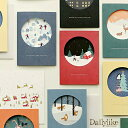 Dailylike デイリーライク クリスマスカード(おしゃれ セット 輸入 猫 封筒付き オシャレ 箔押し メッセージカード クリスマス デザイン グリーティングカード 北欧)