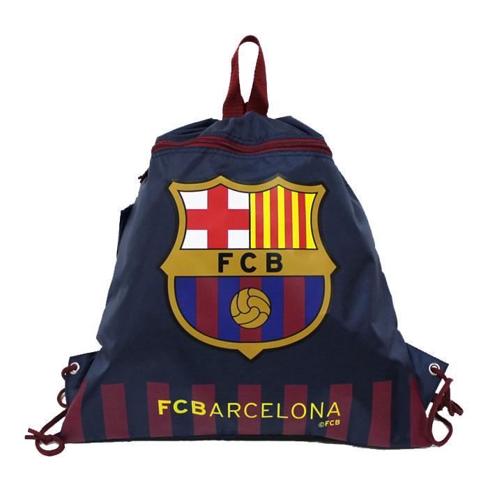 FCバルセロナオフィシャルナップサック(チャック付き)(ネイビー)サッカーサポーターバッググッズスポ