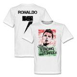 【】RE-TAKE C.罗纳尔多No.7 Portugal Flag T恤(白)【足球支援者 商品T恤】[【】RE-TAKE C.ロナウド No.7 Portugal Flag Tシャツ(ホワイト)【サッカー サポーター グッズ Tシャツ】]