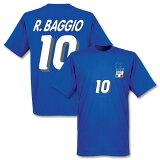 【】RE-TAKE 罗伯特·巴乔 意大利代表1994 家T恤(蓝色)【足球支援者 商品T恤】[【】RE-TAKE ロベルト・バッジョ イタリア代表 1994 ホーム Tシャツ(ブルー)【サッカー サポーター グッズ Tシャツ】]