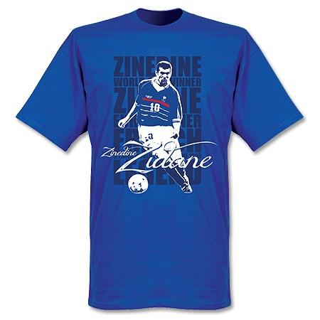 SALEセールRE-TAKE(リテイク)ジネディーヌ・ジダンLegendTシャツ(ブルー)サッカーサ