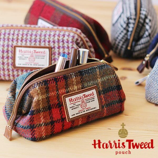 【スマホエントリーでポイント19倍】Harris Tweed・ハリスツイード ポーチ【ウール イギリス 本革 牛革】