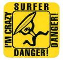 I'M CRAZY SURFERステッカー〔イラスト 趣味 サーフィン〕