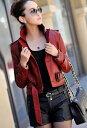 レザージャケット レザーコート レディース 大きいサイズ ウエストのファスナーでコートにもジャケットにもなるレザーコート