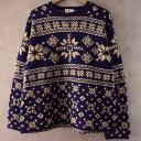 ショッピングノルディック 90's J.CREW Nordic Knit Sweater 90年代 ノルディック ニットセーター 【古着】 【ヴィンテージ】 【中古】 【メンズ店】