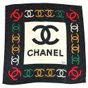 80's BOOTLEG Vintage CHANEL/ブート シャネル 大判 スカーフ ブラック×ホワイト×グリーン×レッド×ゴールド【中古】【86cm×86...