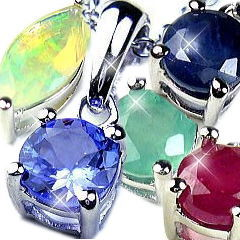 ダイヤモンド サファイア ザナイト・エメラルド・オパールジュエリーネックレス
