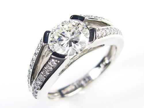 天然ダイヤモンド/1.021ctプラチナ900指輪/芦屋ダイヤモンド宝石鑑定書付VS1の1カラット!Gカラー