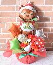 クリスマスに喜ばれる!クリスマスベアバルーンギフト【クリスマス パーティー 贈り物 キャンディ スター 卓上 バルーン 造花 メッセージカード 送料無料】(ヘリウムバルーンのセットもあります)
