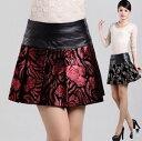 ラムレザー スカート ミニスカート プリーツスカート Aライン フレア スカート 切りっぱなし 花柄 選べる2カラー 6サイズ追加