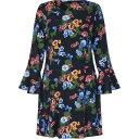 ユミ Yumi Curves レディース ワンピース チュニックドレス ワンピース・ドレス【Botanical Print Tunic Dress】Black