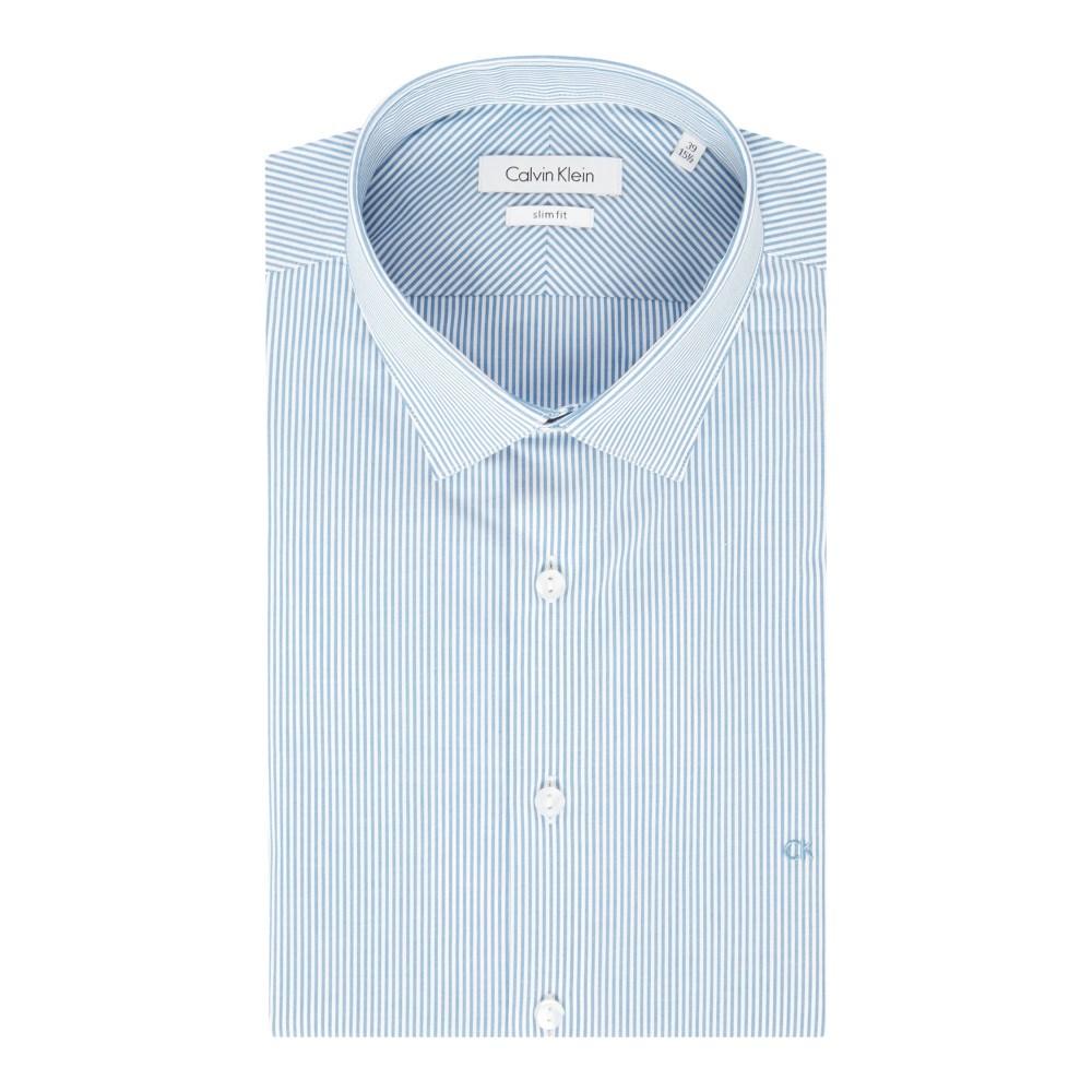 カルバンクライン メンズ トップス フォーマルシャツ【Calvin Klein Long Sleeve Bari Stripe Shirt】Blue