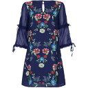 ユミ Yumi レディース ワンピース・ドレス ワンピース【Floral Placement Tunic Dress With Sheer Sleeves】Dark Navy