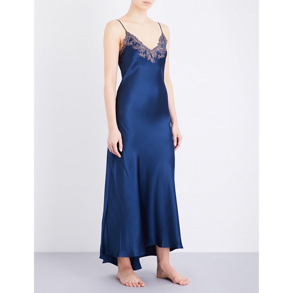 ラ ペルラ la perla レディース インナー パジャマ【maison embroidered silk-satin nightgown】Dark blue