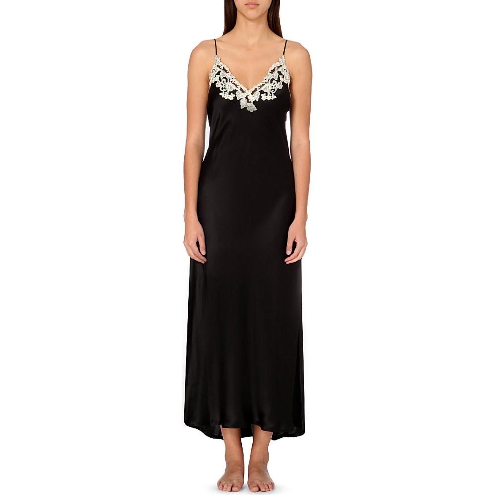 ラ ペルラ la perla レディース インナー パジャマ【maison embroidered silk-satin nightgown】Black / ivory