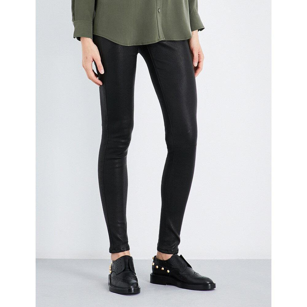 エージー レディース インナー・下着 スパッツ・レギンス【skinny mid-rise leather leggings】Super black