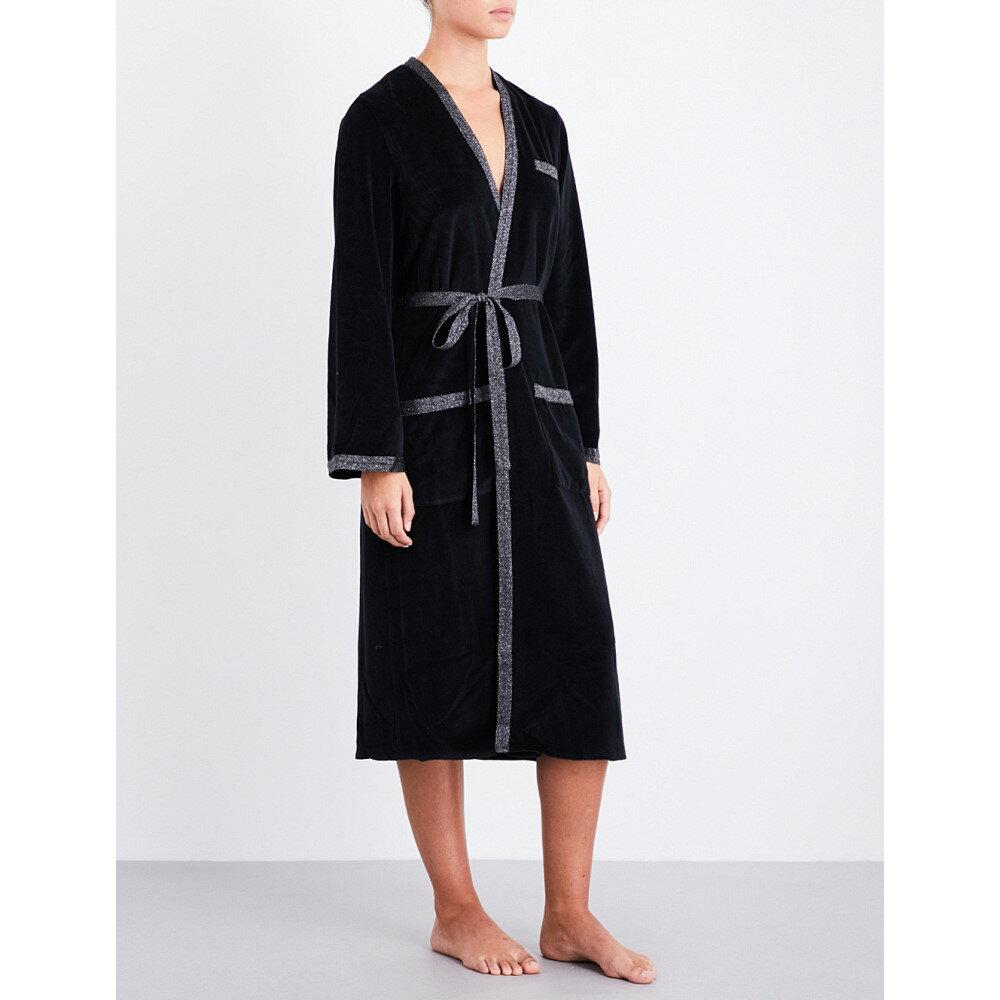 モーガン レーン レディース インナー・下着 ガウン・バスローブ【tilda metallic-trim velvet robe】Black