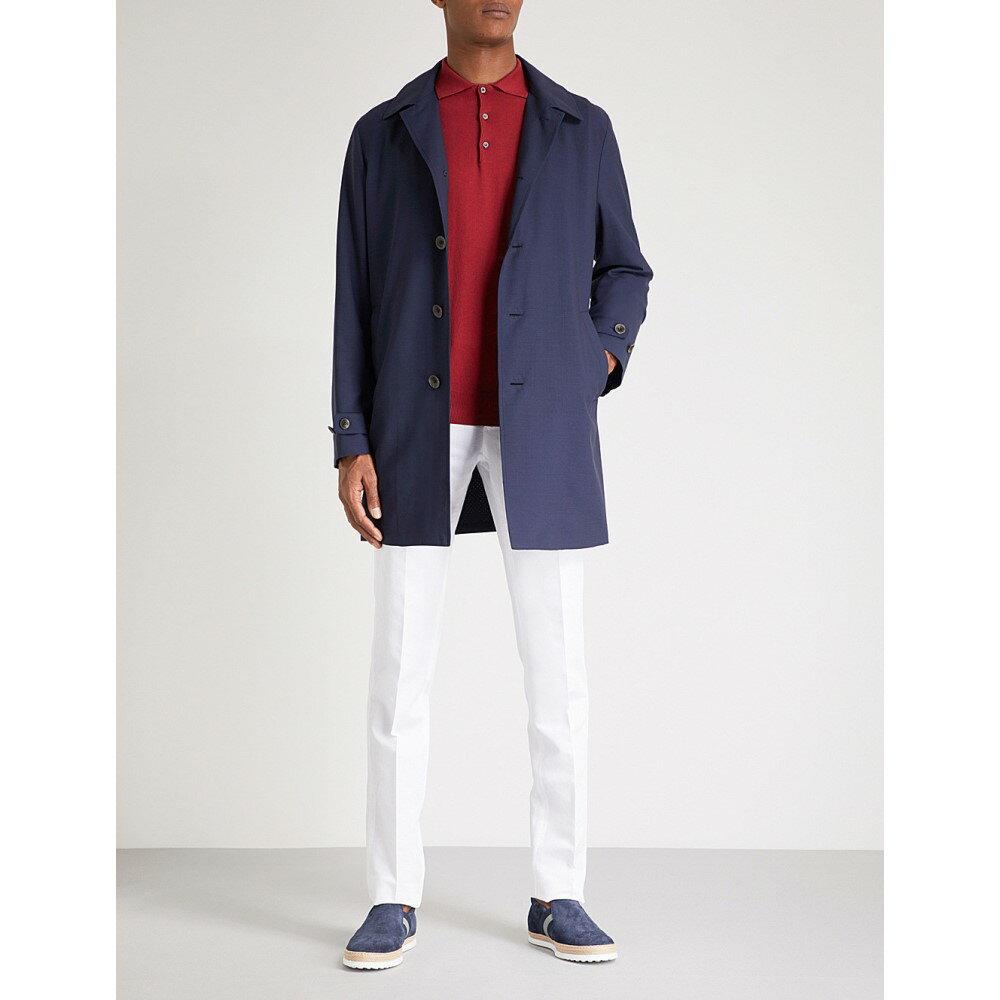カナーリ メンズ アウター レインコート【detachable hood wool-shell raincoat】Navy