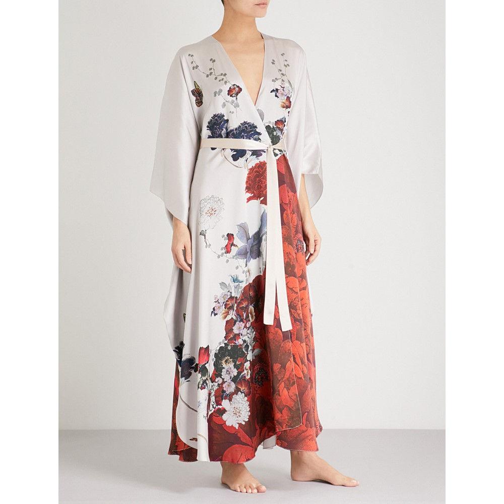 メン レディース インナー・下着 ガウン・バスローブ【floral-print silk-satin kimono robe】White