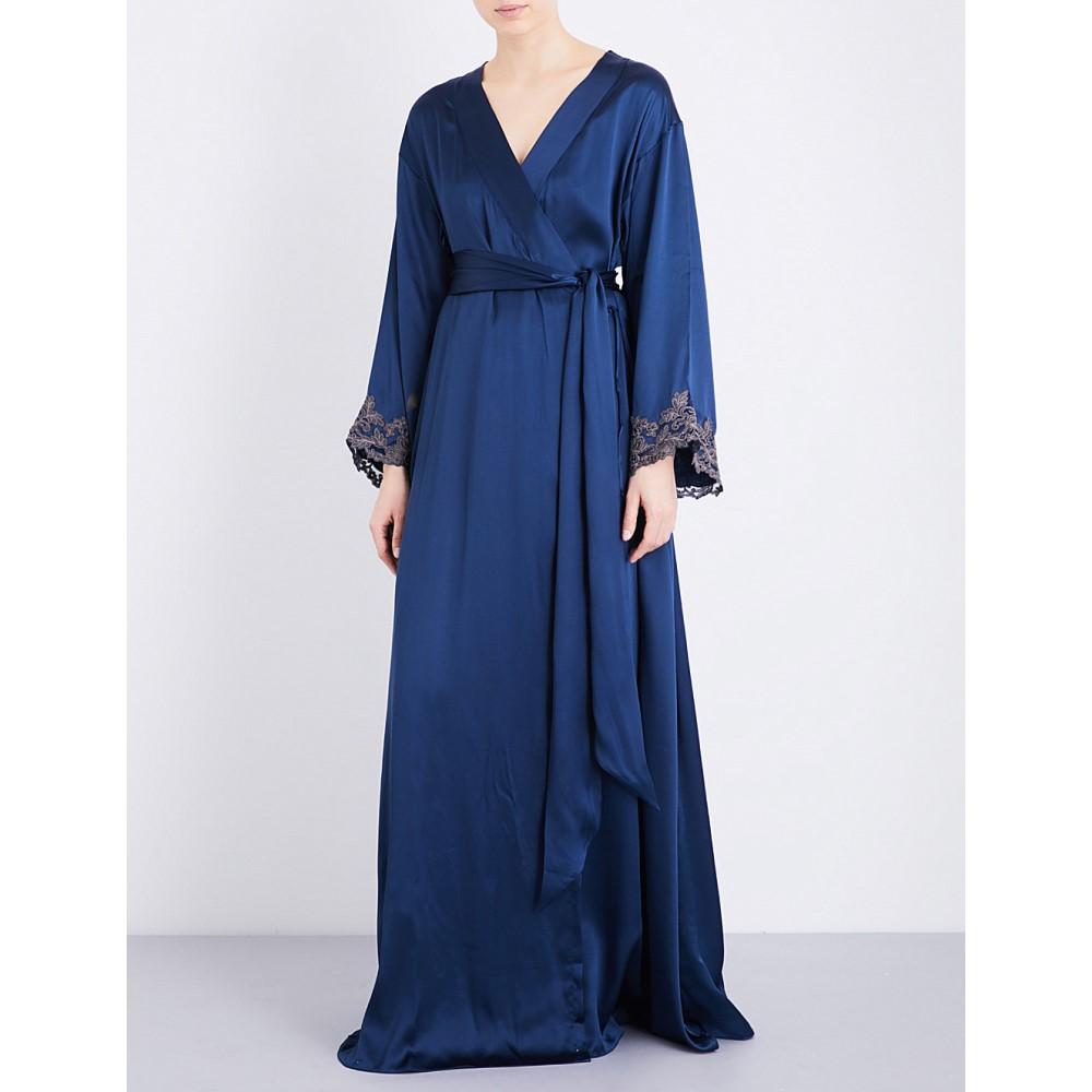 ラ ペルラ レディース インナー・下着 ガウン・バスローブ【maison embroidered silk-satin robe】Dark blue