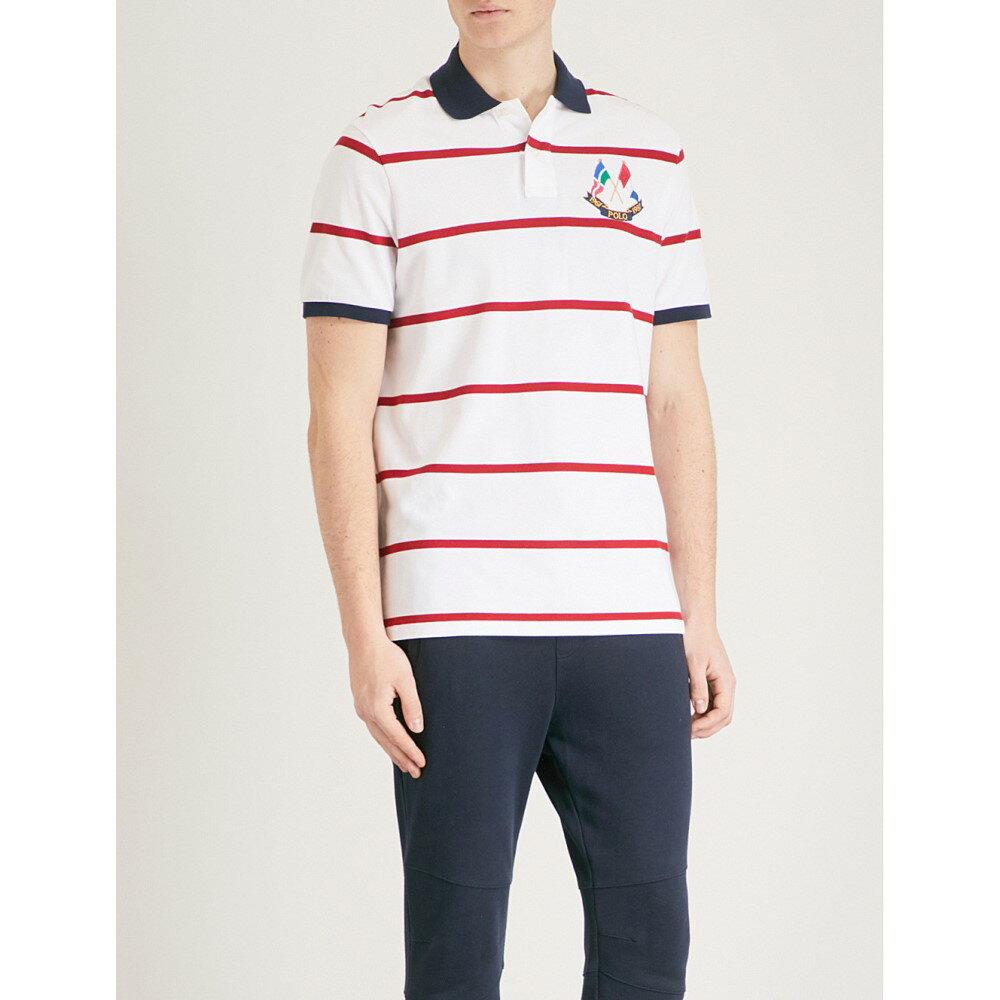 ラルフ ローレン メンズ トップス ポロシャツ【cross flags cotton-pique polo shirt】White/ralph red