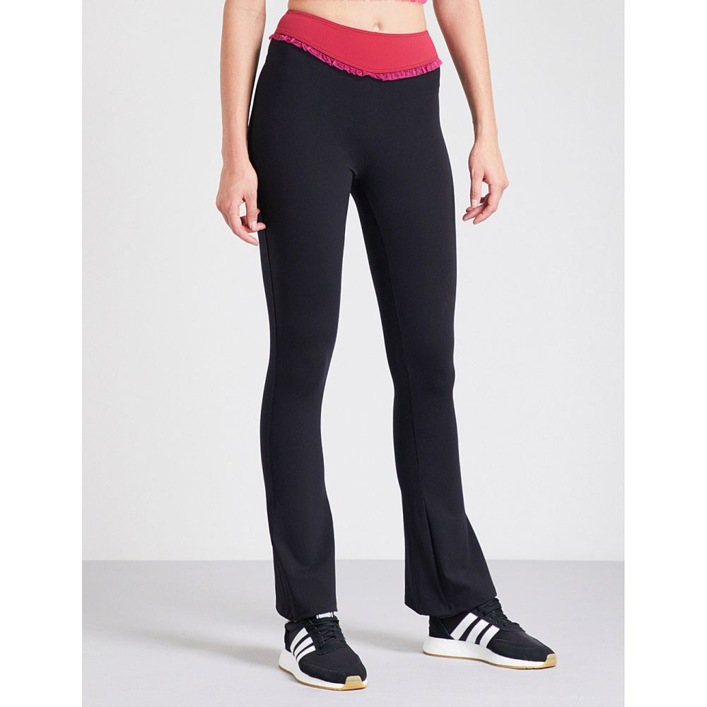 サポパ レディース インナー・下着 スパッツ・レギンス【ellen high-rise ruffled stretch-jersey flared leggings】Black fucsia