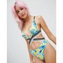 ショッピングHIGH フリーソサエティ Free Society レディース 水着・ビーチウェア ワンピース【Indigo Palm High Crossed Swimsuit】Multi