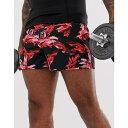 エイソス ASOS 4505 メンズ ボトムス・パンツ ショートパンツ【training shorts in mid length with floral print】Black/red